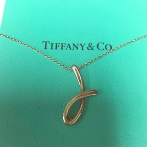 Tiffany silver initial J pendant